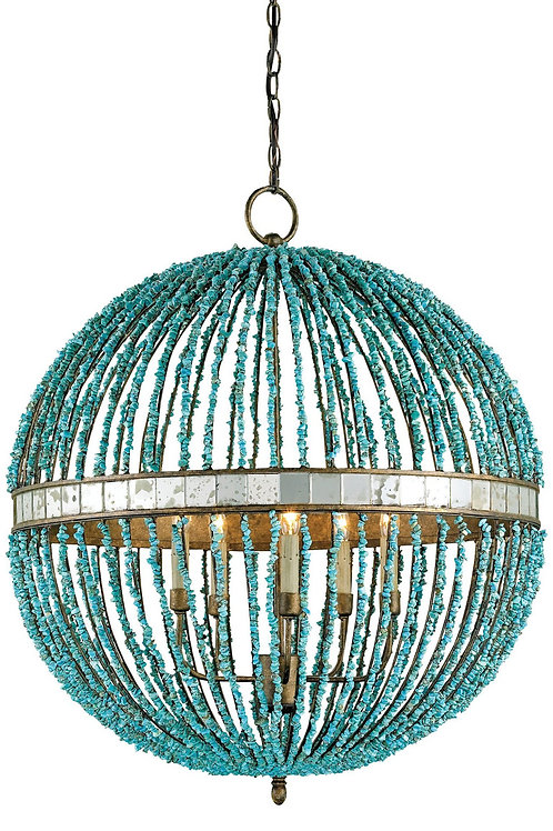 Blue Beaded Orb Chandelier