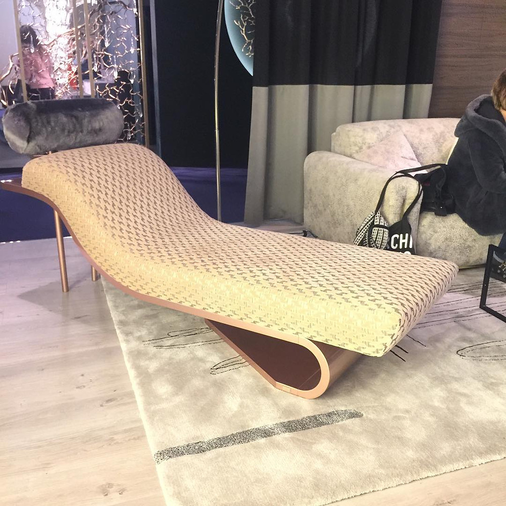 Maison and Objet, January 2019. Lounge with fur and houndstooth fabric