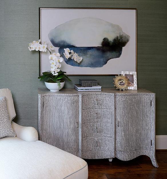 Grasscloth wallpaper, hooker dresser