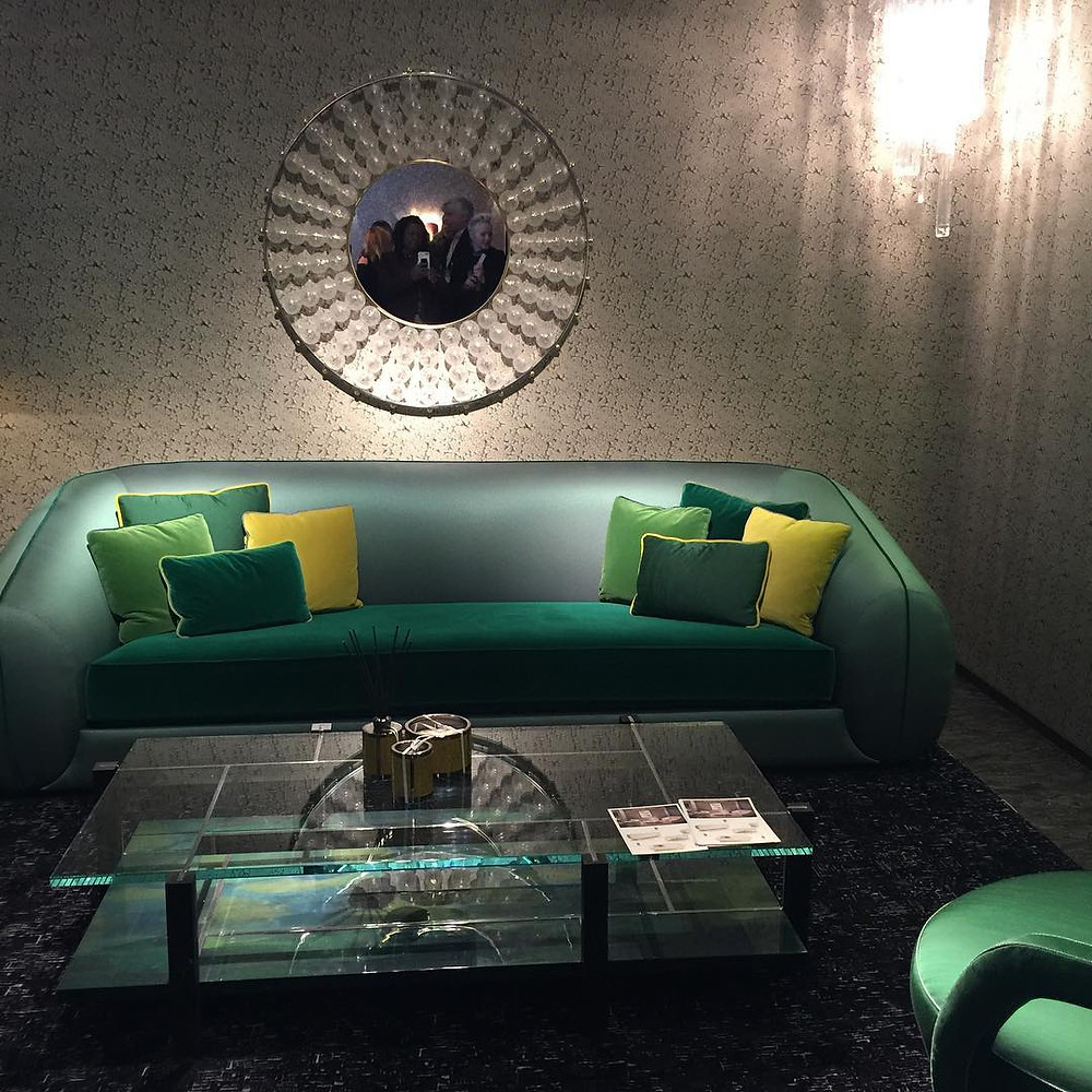 Green sofas and chairs
