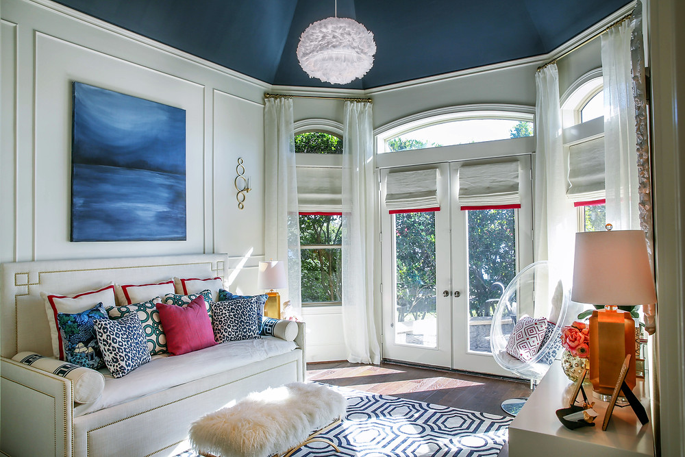 bedroom with navy painted ceiling