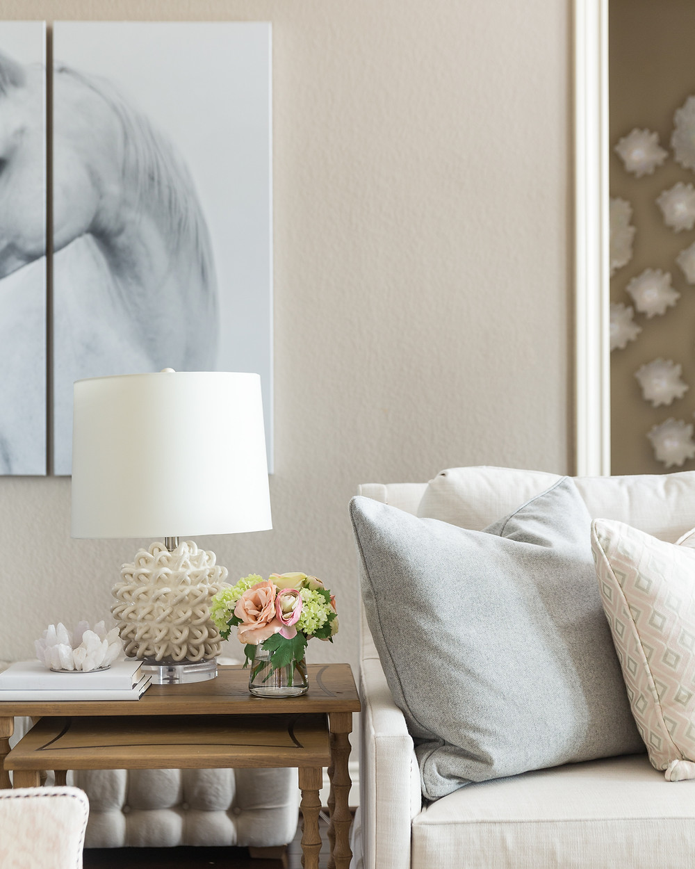 Triptych Horse Painting In Living Room