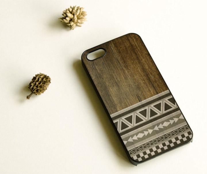 Wood Print Geometric Unique iPhone Case