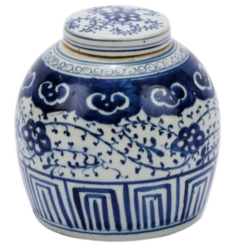 Blue And White Ming Jar Climbing Vine Motif