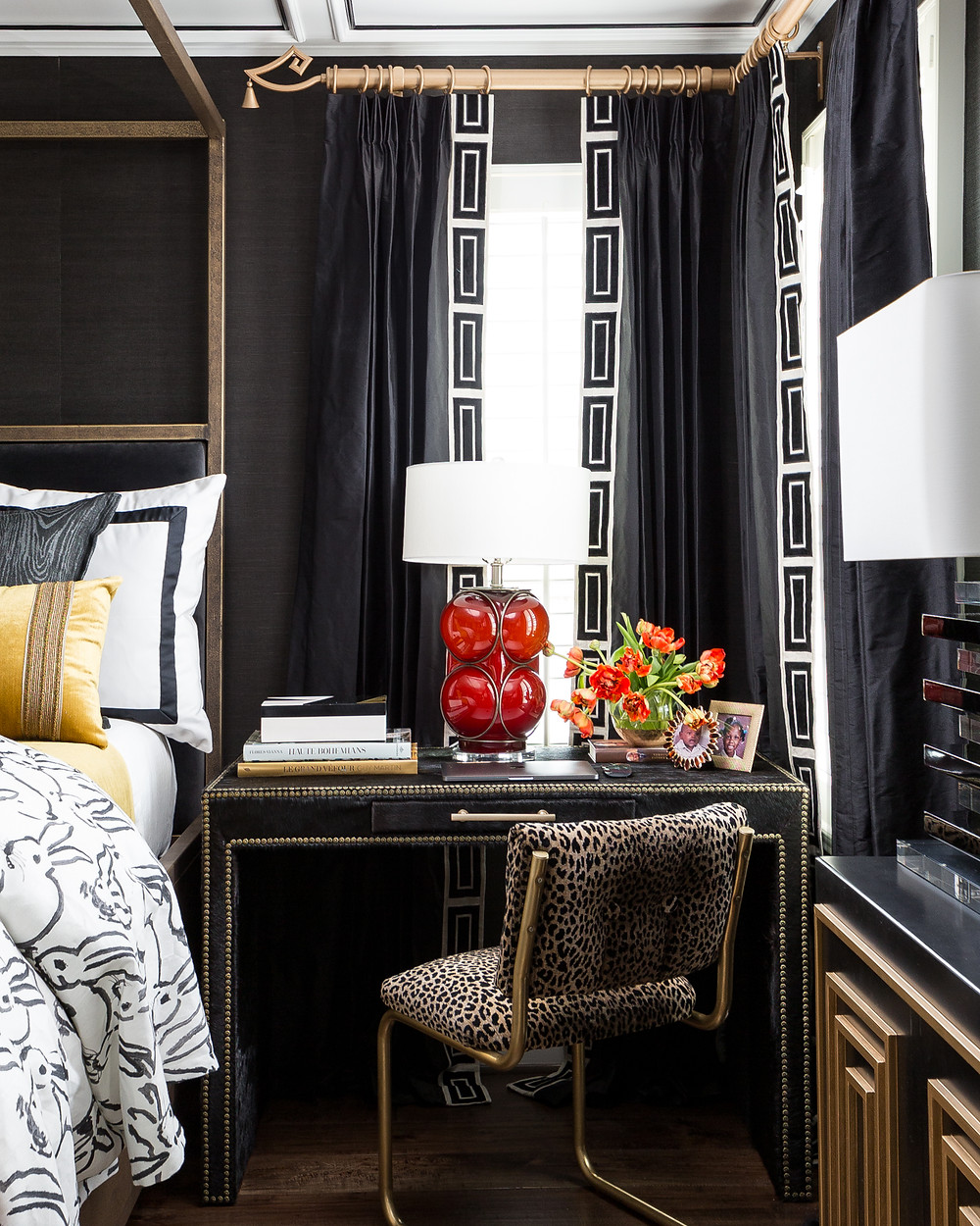 Desk Area In Master Bedroom With Black Silk Draperies Against Black Grasscloth Wallpaper. Coffered Ceilings