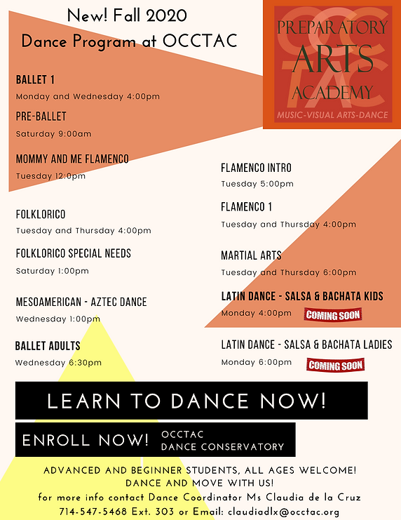 Dance Program page fall 2020 updated sch