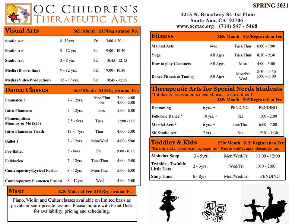 Updated Spring Prep Arts Schedule 2.8.21