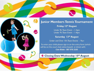 Junior Members Tennis Tournament - 12th and 13th of August