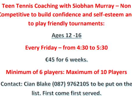 Teen Tennis Coaching with Siobhan Murray