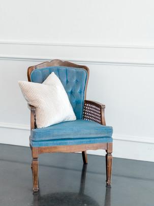 Blue Cane Side Chair