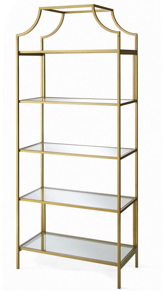 Modern Brass/Glass Champagne Shelf