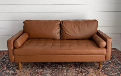 """""""Foxy"""" Faux Leather Couch"""