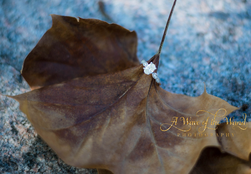 engagement ring fall leaves