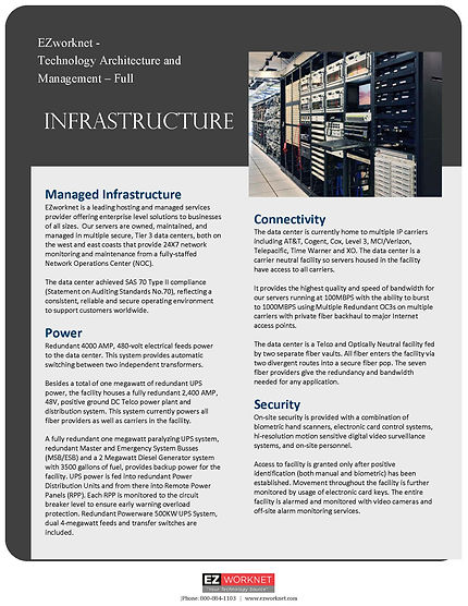EZworknet Infrastructure Marketing Sheet