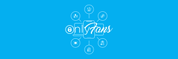 OnlyFans logo on a blue background with icon bubbles branching off detailing the variety of content creators on the website: beauty, musicians, fitness, lifestyle, artists, and cooks