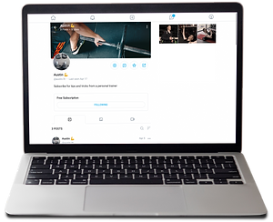 Laptop with OnlyFans page open - viewing a fitness instructor's page