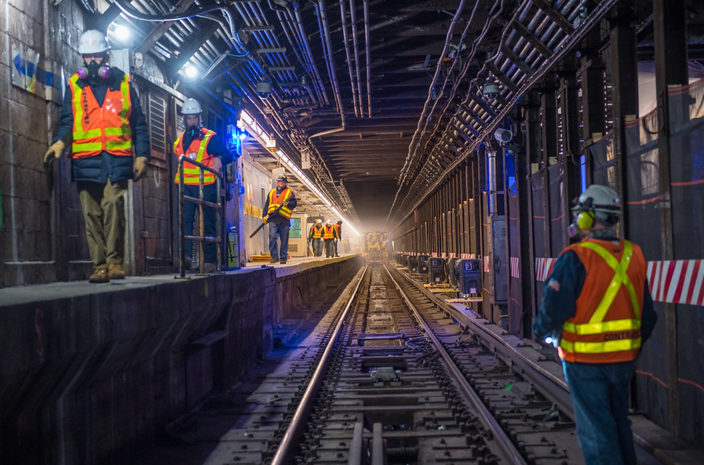 Photo: Trent Reeves/MTA Construction & Development, via Flickr cc. L Project Tunnel Rehabilitation Work, taken on March 16, 2019.
