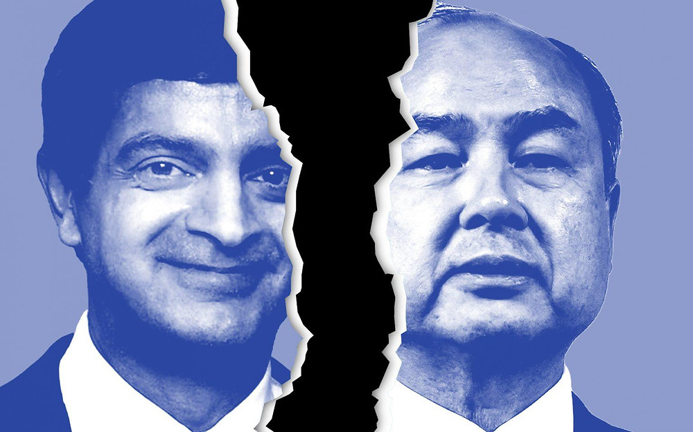 WeWork CEO Sandeep Mathrani and Softbank CEO Masayoshi Son