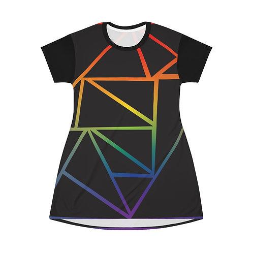 Frsctured Rainbow T-Shirt Dress