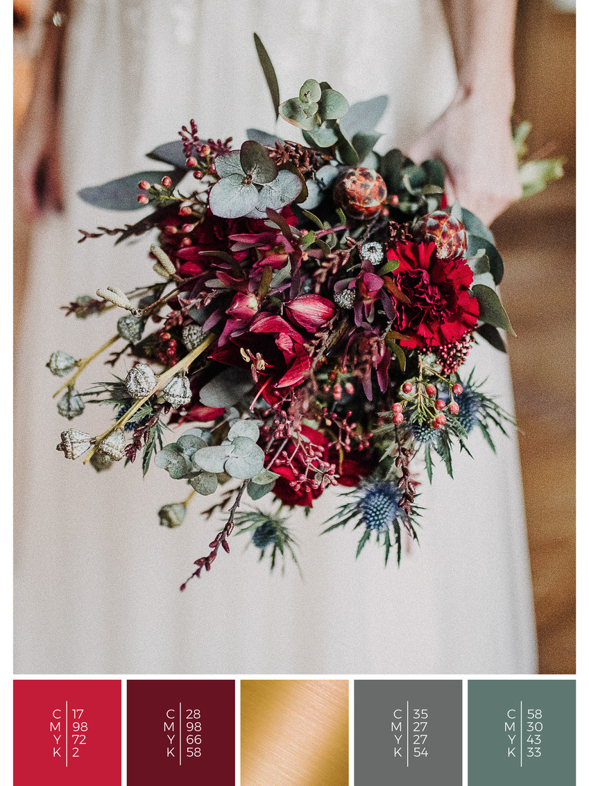 """The bridal bouquet of the wedding mood board """"Rustic Glamour"""" has a color scheme palette in shades of red and black."""