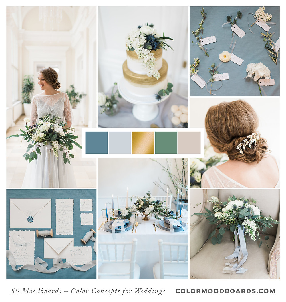 A mood board as wedding inspiration for flowers, decoration & invitation which uses a color palette of blue and gold.