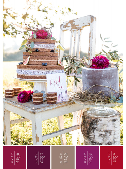 """The wedding cake of the wedding mood board """"Indian Summer"""" fits to a color scheme palette in shades of red, pink and puprle."""