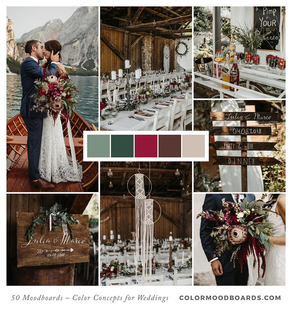 A mood board as wedding inspiration for flowers, decoration & invitation which uses a color palette of red and pink.