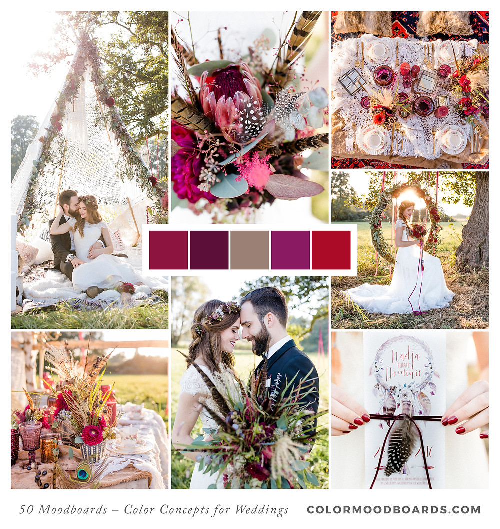 A mood board as wedding inspiration for flowers, decoration & invitation which uses a color palette of red, pink and puprle.