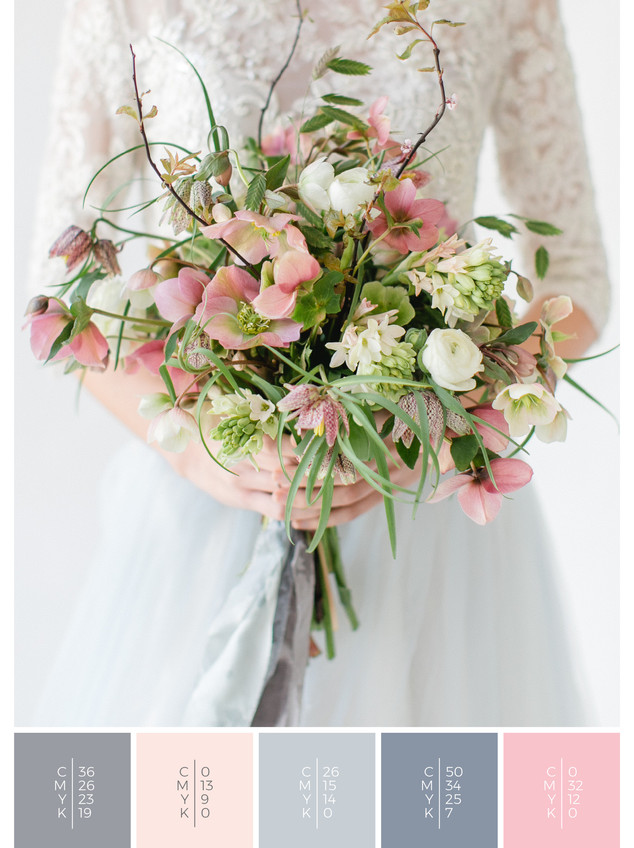 """The bridal bouquet of the wedding mood board """"Crystal Clear"""" has a color scheme palette in shades of gray, blue and blush."""