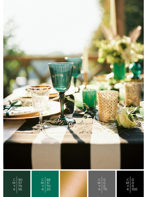 "This wedding table decoration of the wedding mood board ""Love is Love"" has a color scheme palette in shades of green, gold and black."