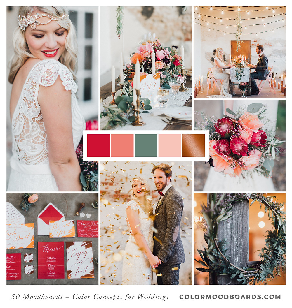 A mood board as wedding inspiration for flowers, decoration & invitation which uses a color palette of red, coral and copper.