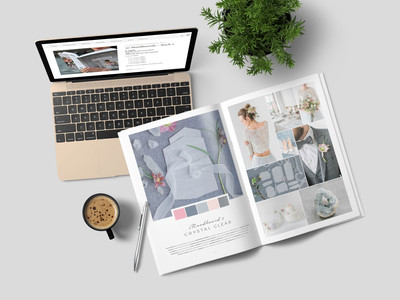 """The wedding moodboard """"Crystal Clear"""" printed in the wedding guide """"50 Moodboards – Color Concepts for Weddings""""."""