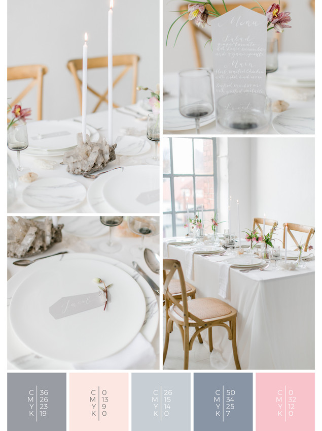 """This wedding table decoration of the wedding mood board """"Crystal Clear"""" has a color scheme palette in shades of gray, blue and blush."""