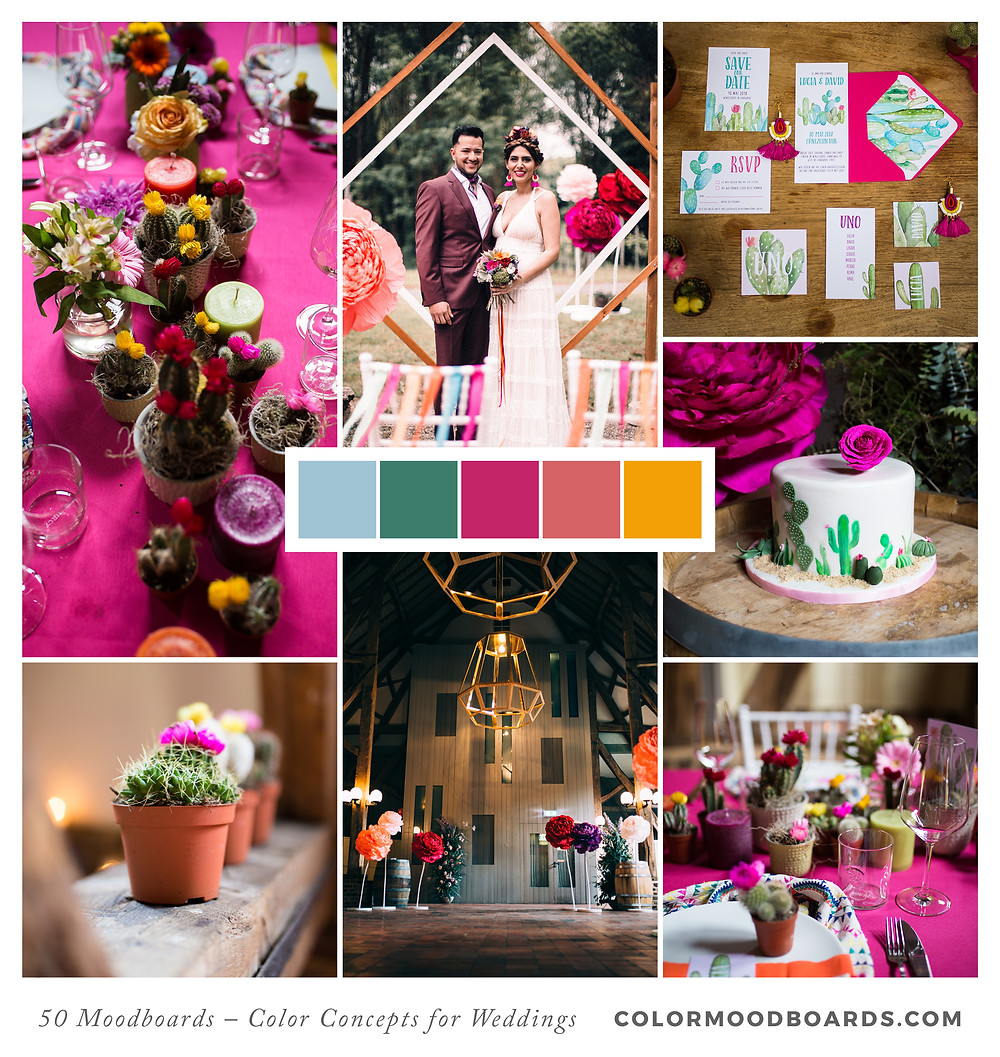 A mood board as wedding inspiration for flowers, decoration & invitation which uses a color palette of pink and orange.
