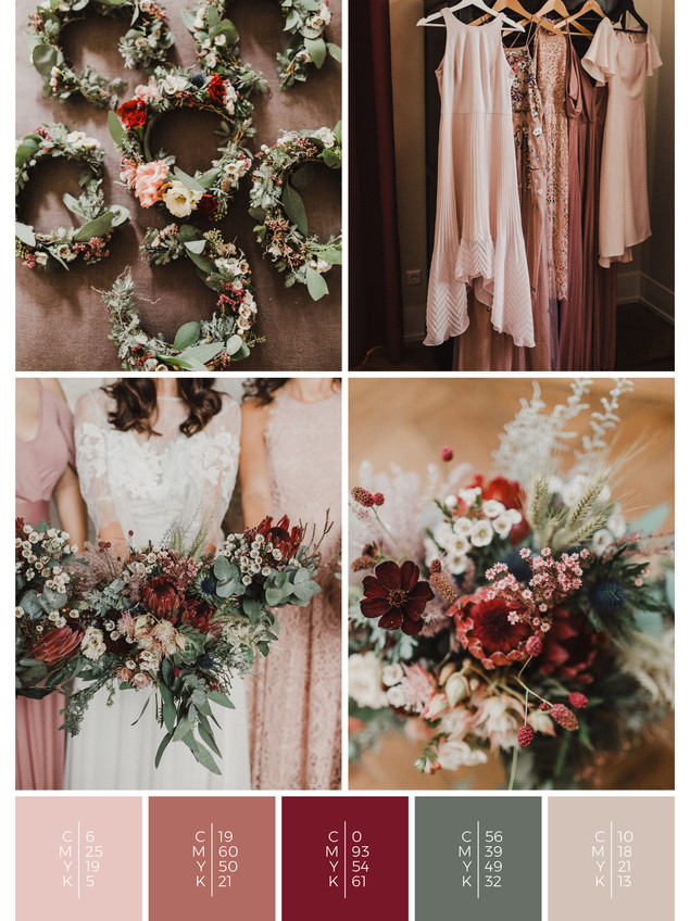 "The flowers of the wedding mood board ""Blooming Beauties"" create a color scheme palette in shades of red, coral and blush."