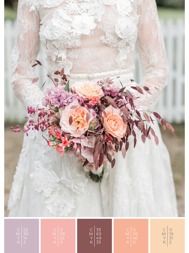 """The bridal bouquet of the wedding mood board """"Precious Petals"""" has a color scheme palette in shades of violet and coral."""