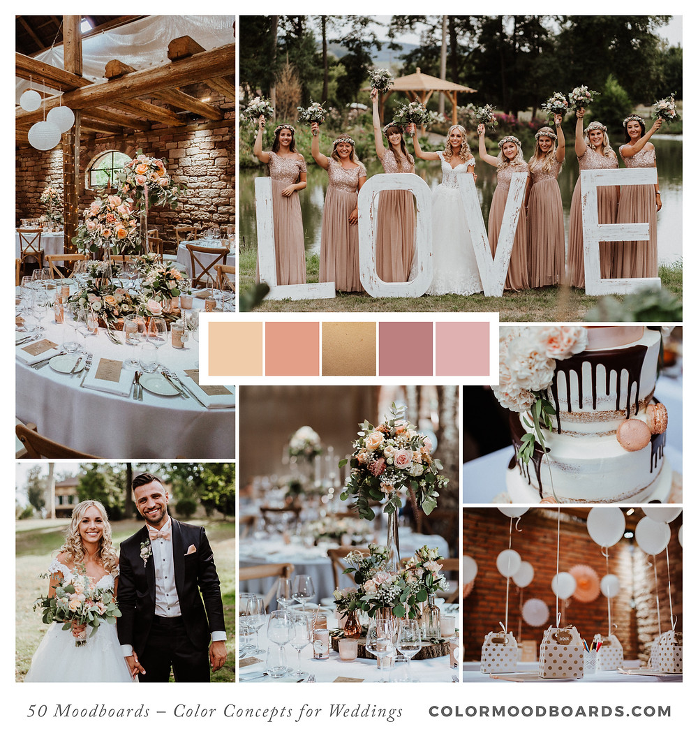 A mood board as wedding inspiration for flowers, decoration & invitation which uses a color palette of coral and blush.
