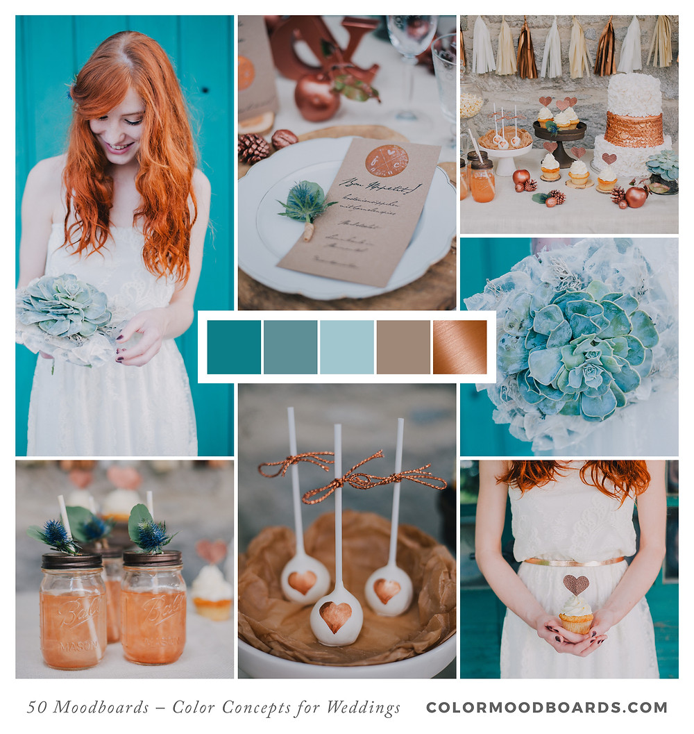 A mood board as wedding inspiration for flowers, decoration & invitation which uses a color palette of turquoise and copper.
