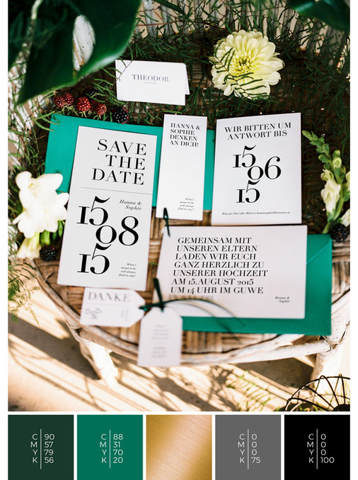 This wedding stationery for an Austrian wedding fits perfectly to a clean wedding style in shades of green, gold and black.