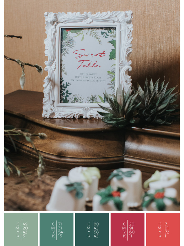 This wedding stationery for a wedding at home fits perfectly to a rustic wedding style in shades of red and green.
