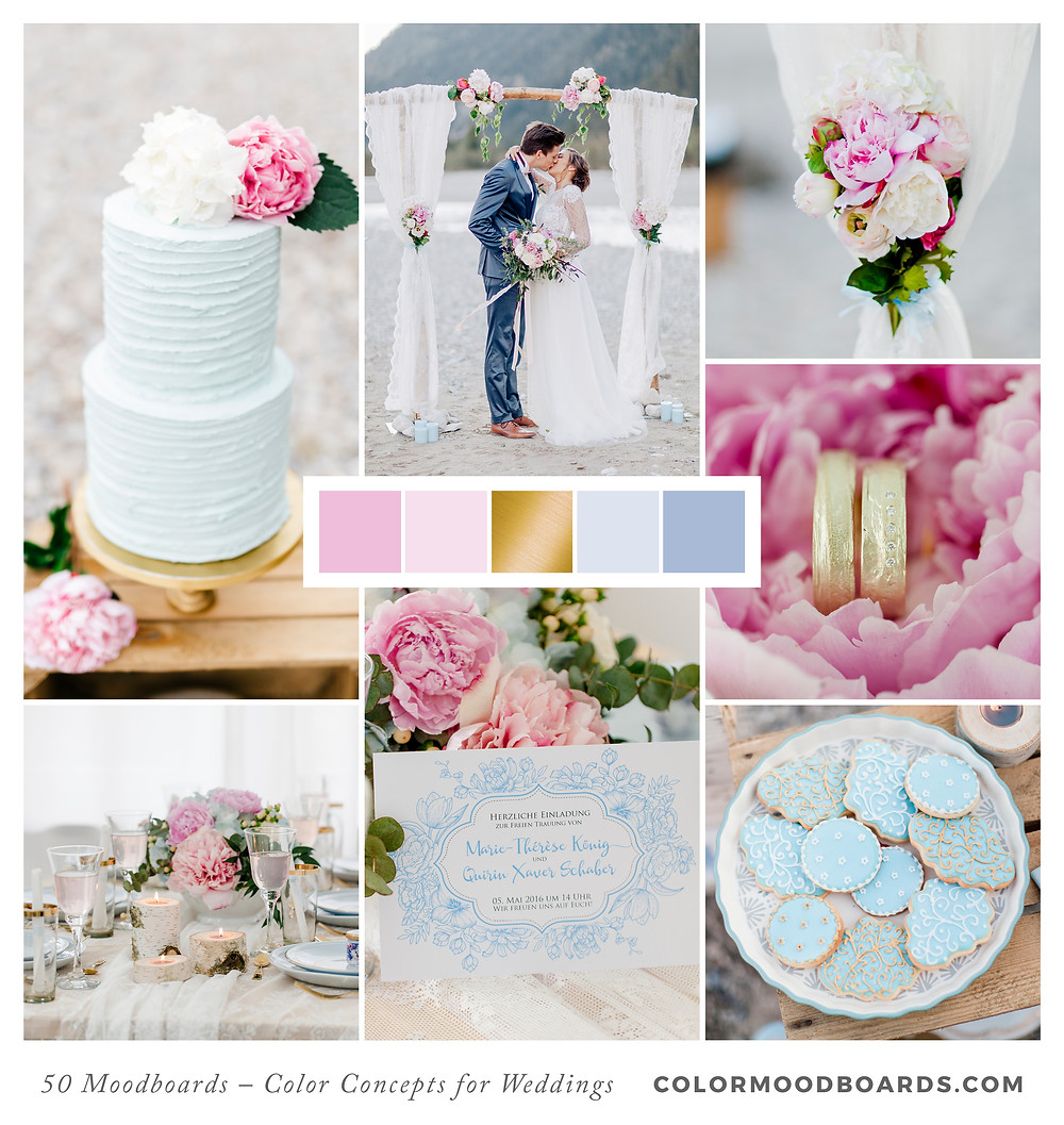 A mood board as wedding inspiration for flowers, decoration & invitation which uses a color palette of pink and blue.