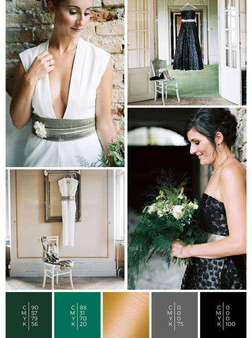 "The wedding mood board ""Love is Love"" helps you to plan an Austrian wedding with a color scheme of green, gold and black."