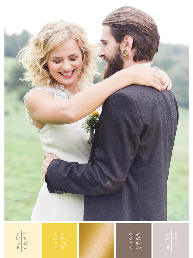"""The wedding mood board """"Country Charm"""" helps you to plan a barn wedding with a color scheme of yellow."""
