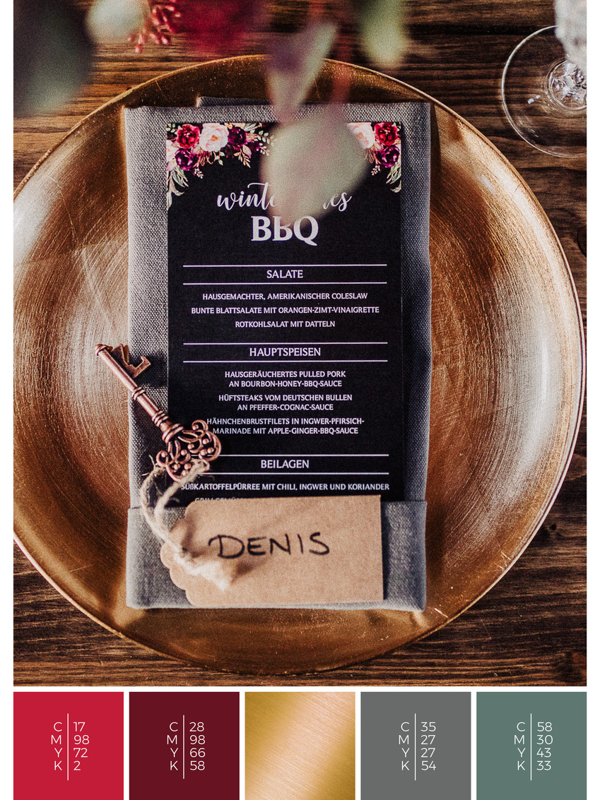 This wedding menu card for a barn wedding fits perfectly to a vintage wedding style in shades of red and black.
