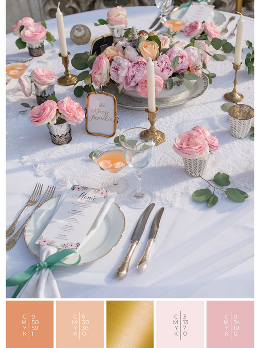"""This wedding table decoration of the wedding mood board """"Briar Rose"""" has a color scheme palette in shades of coral, pink and orange."""