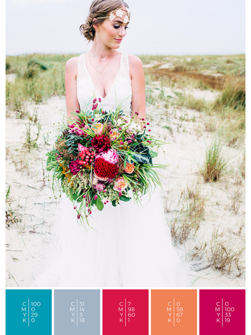 "The bridal bouquet of the wedding mood board ""Tropical Teal"" has a color scheme palette in shades of turquoise, pink, coral, orange and red."