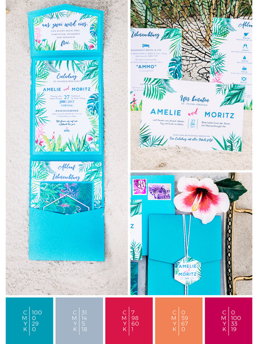 This wedding stationery for a beach wedding fits perfectly to a tropical wedding style in shades of turquoise, pink, coral, orange and red.