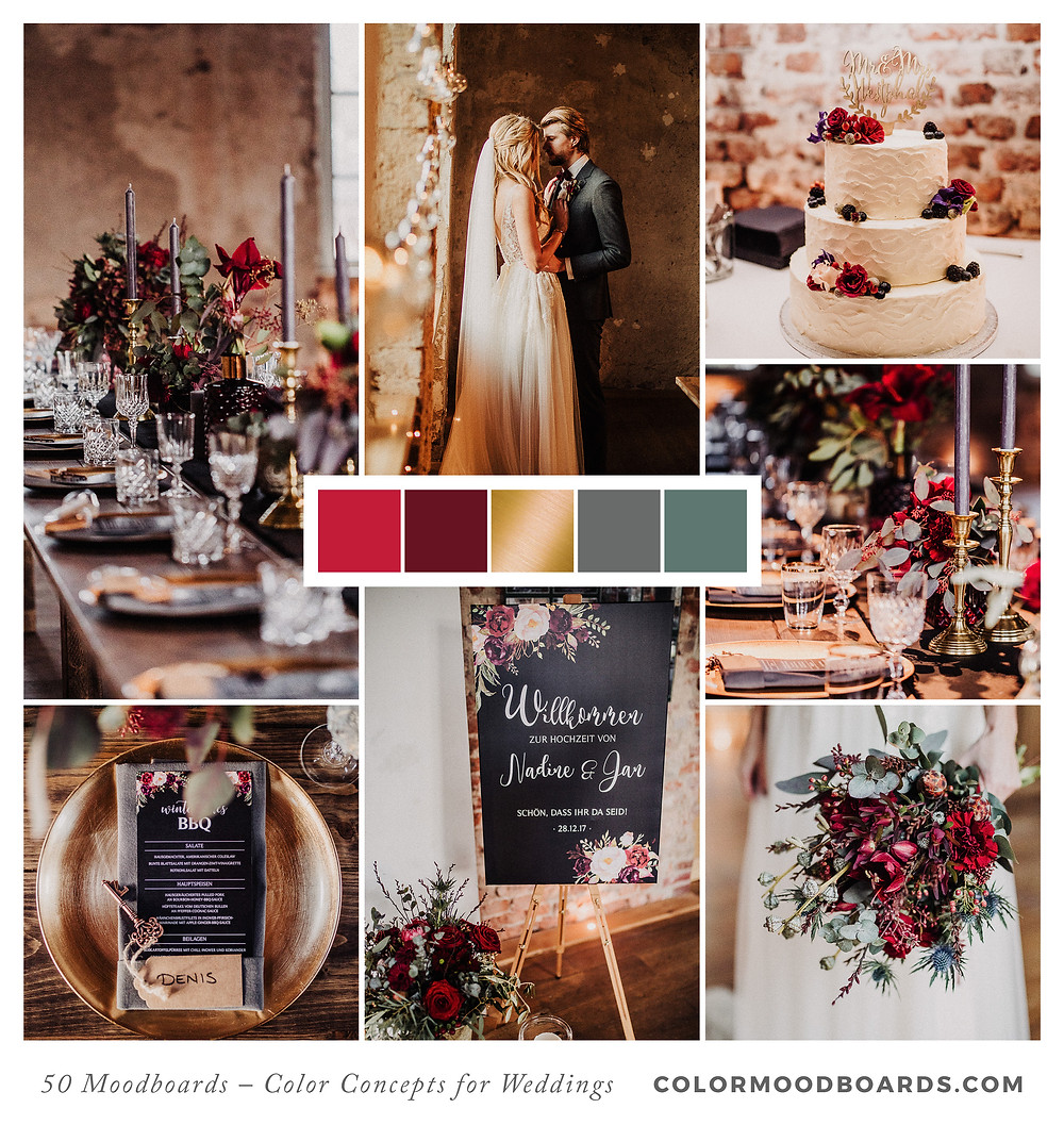 A mood board as wedding inspiration for flowers, decoration & invitation which uses a color palette of red and black.