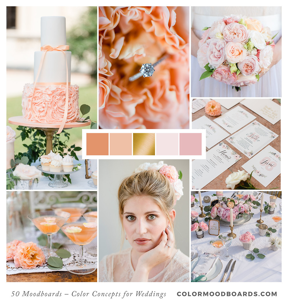 A mood board as wedding inspiration for flowers, decoration & invitation which uses a color palette of coral, pink and orange.