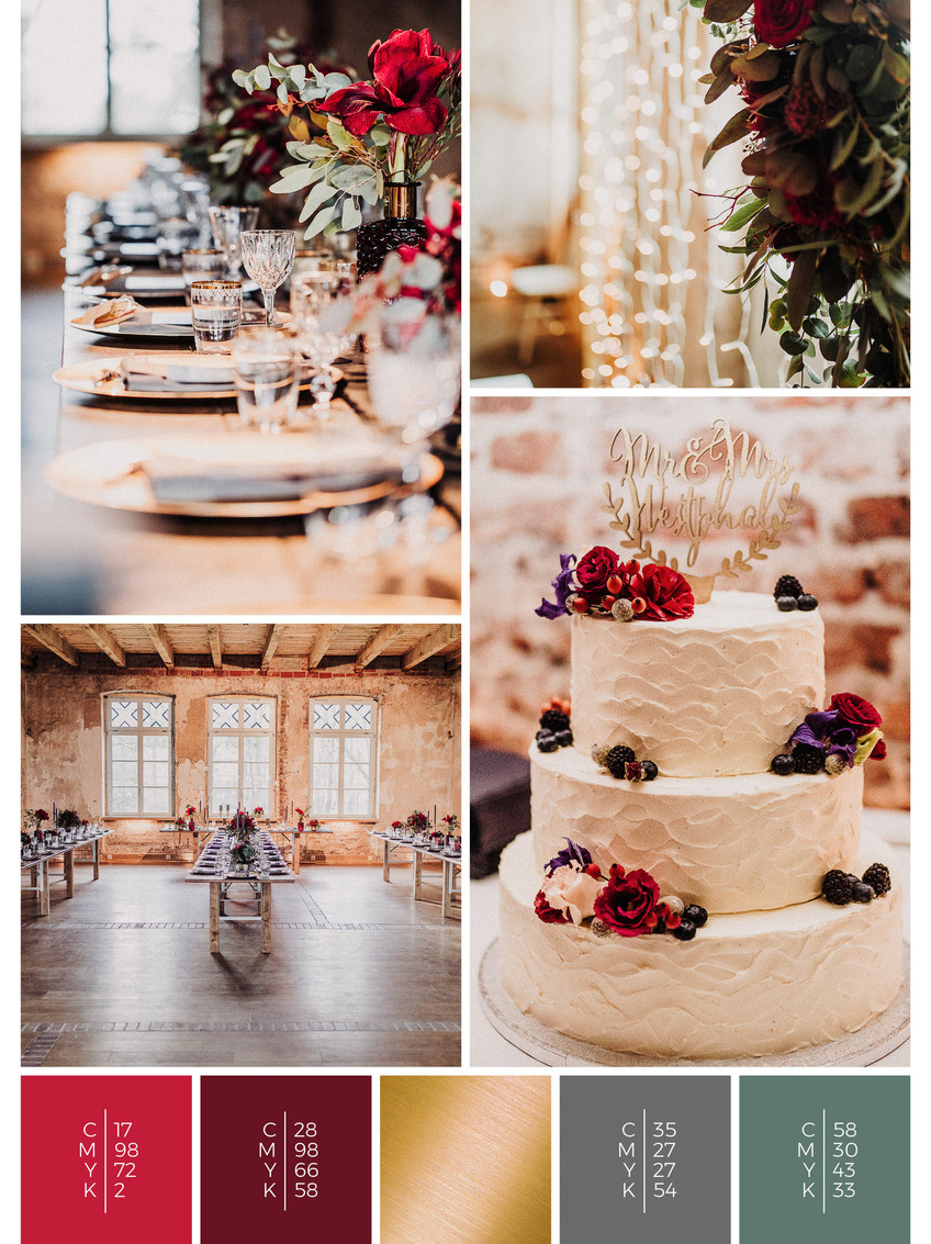 """The wedding cake of the wedding mood board """"Rustic Glamour"""" fits to a color scheme palette in shades of red and black."""